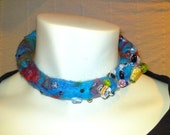 choker necklace with felted wool, swarovski crystal, sterling silver wire and craft beads....
