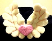 A needle felted wool heart angel wings pin...