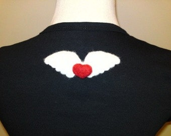 A gift for your Blythe or for yourself, needle felted wool heart angel wing pin...
