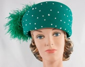 Vintage 1980s Jack McConnell Green Wool Felt and Feathers