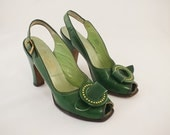 1940s Gorgeous Green Leather Peep Toe Pumps   6N
