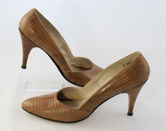 Vintage 1950s I. Miller - Genuine Reptile Shoes - Size 8