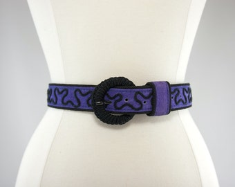 Purple and Black Suede Belt