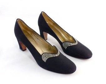 1960s Andrew Geller Black Bengaline and Rhinestone Shoes Size 5 1/2N