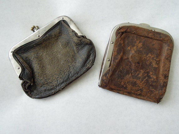 Antique Leather Snap Coin Pouches Lot of 2