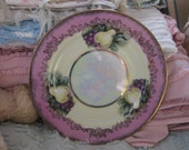 SALE Vintage Pink Pear Plate - Iridescent with Gold JAPAN