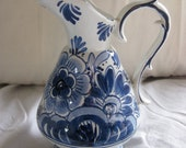 Vintage Blue & White Delft Hand Painted Holland Small Pitcher 242