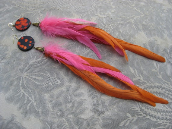 SALE Pink Orange Rooster Saddle Feather Earrings Black Baked Clay Tye Dye Beads