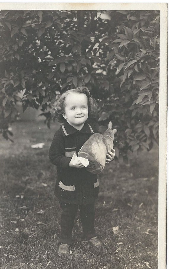 Antique Photo Postcard Little Boy With Stuffed Animal Bunny 1921 RPPC