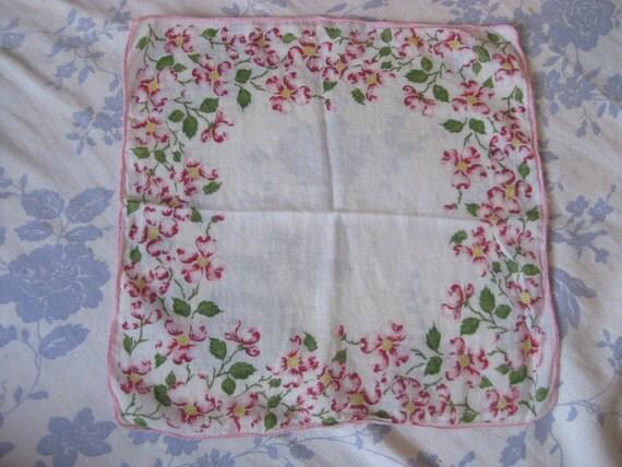 Vintage Hankie Pink Red Floral Printed With Pink Edging