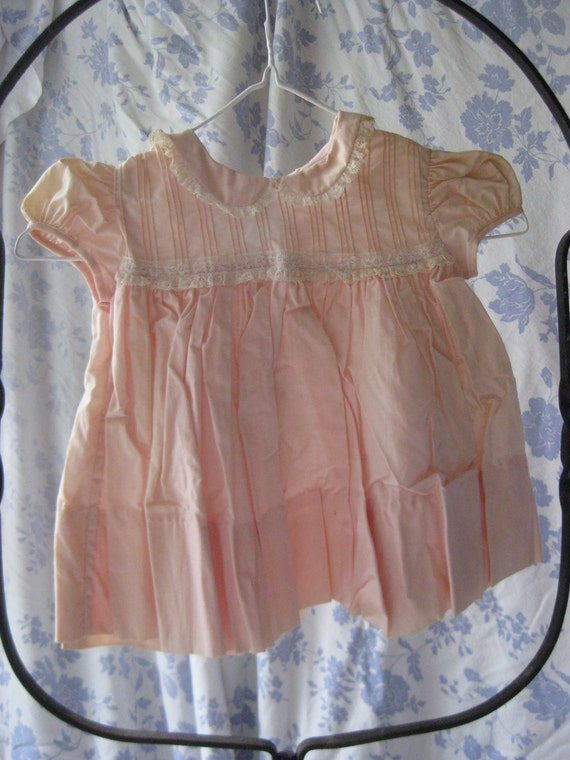 Vintage 1940's - 50's Baby Girl Or Doll Dress Pink Prima Cotton Lace By Twinklettes Original Tags NOS