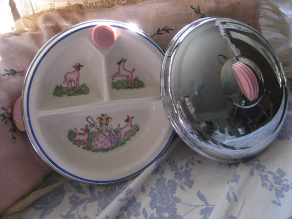 Antique Vintage Little Bo Peep Pink Lamb Divided Baby Childs Plate Dish Warmer With Chrome Bottom & Lid