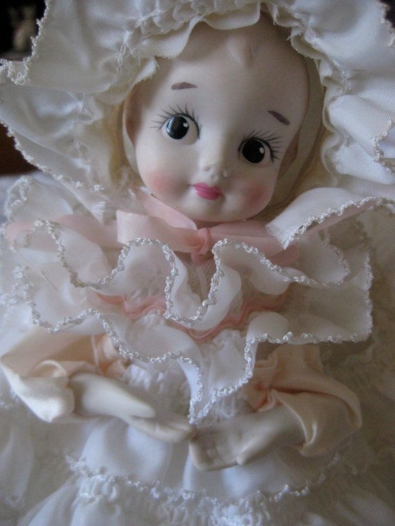 Vintage Bisque Head Wide Eyed Doll Ruffled Dress Music Box Mechanical Head Moves