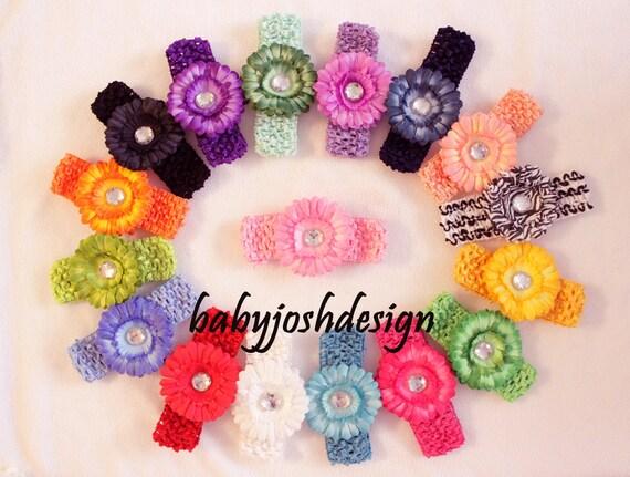 "newborn baby starter gift SUPER BUNDLE 16 piece....8 daisy flowers 3""inch and 8 headband 1.5""inch mix and match."