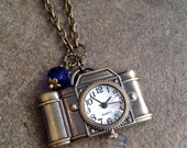 Camera Clock Charm Necklace