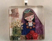 Norooz, persian painting fused glass pendant, charm, tile