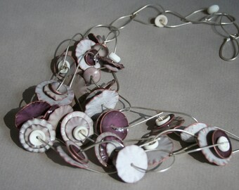 Enamel Flutter Necklace In Shades of White, Grays and Orchid