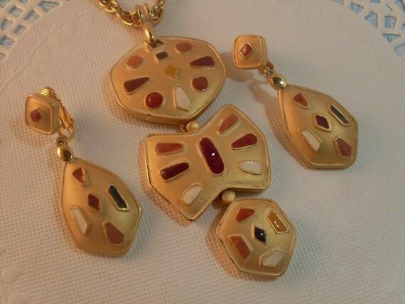 Vintage Eisenberg 1950s Enamel Pendant Necklace Earrings Set