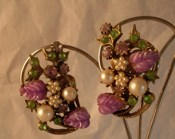 Vintage Earrings Rhinestone Clip On Leaf