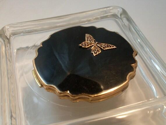 Vintage Stratton Compact Black Enamel
