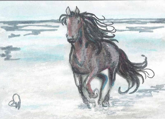 "ORIGINAL PAINTING Fine Art Miniture Painting Horse "" The Wind "" Tiny Treasure Collectables"