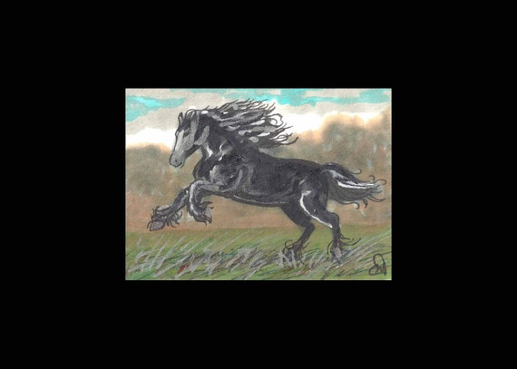 "ORIGINAL PAINTING Fine Art Miniture Painting Horse "" Twilight "" Tiny Treasure Collectables"