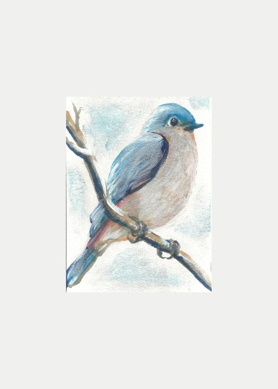 "ORIGINAL PAINTING Fine Art Miniture "" Tiny Bluebird "" Tiny Treasure Collectables"
