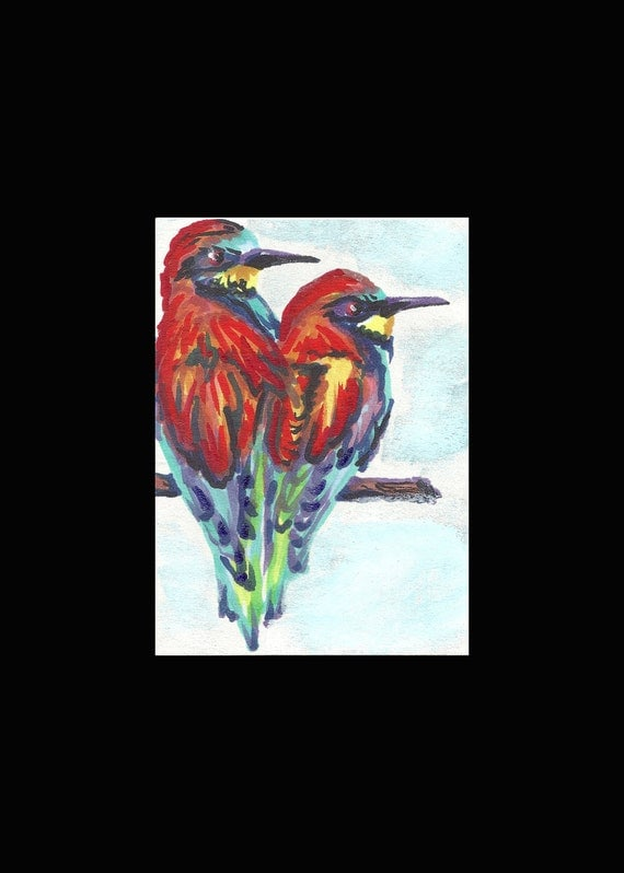 "ORIGINAL PAINTING Fine Art Miniture "" BEEEATERS "" Tiny Treasure Collectables"