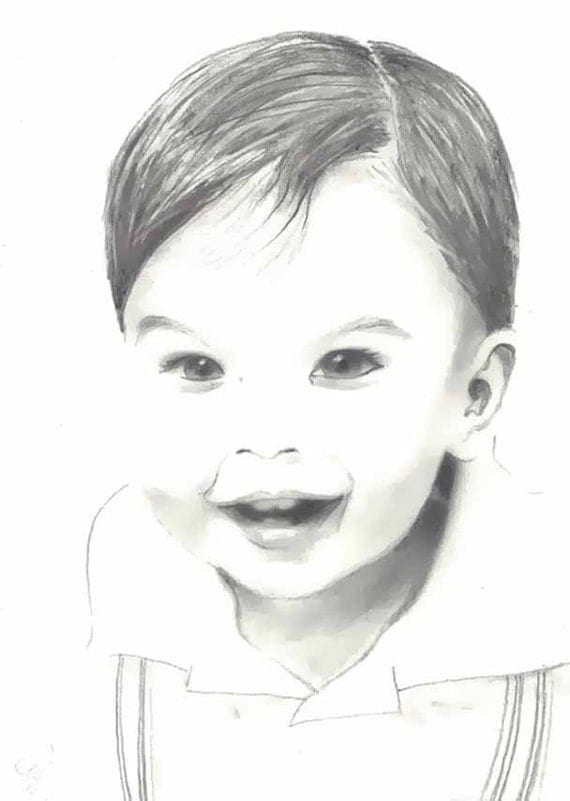 RESERVED LISTING for Connors 4 Small Custom Portraits in Pencil