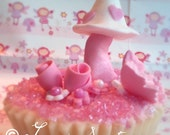 Pink Enchanted Garden Cupcake Toppers
