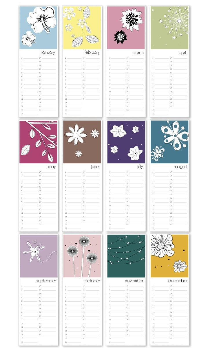 Blank Birthday Calendar : Birthday calendar flowers printable pdf