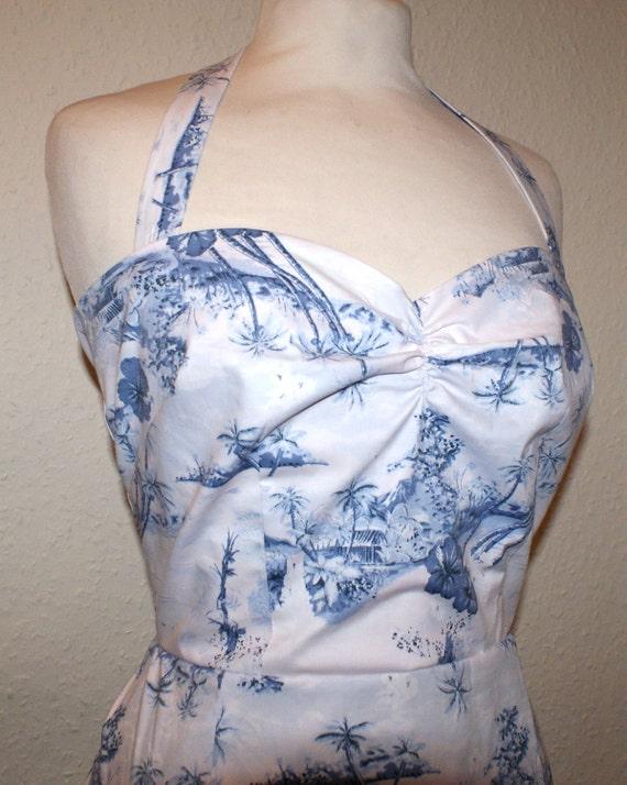 Vintage 1950s insired repro Hawaiian halter wiggle dress size small Rockabilly Viva High