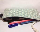 Triangle Zipper Pouch, Clutch, Purse, Pencil case - japanese , asanoha , traditional , pale light blue color