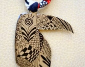 Toucan bird nickel silver necklace designed with marker.