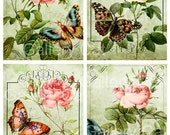 Old English Roses with Butterfly Digital Collage Sheet Instant Download for Paper Crafts Original Whimsical Altered Art by GalleryCat CS8
