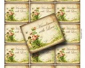 Vintage Handmade with Love Tag Digital Collage Sheet Instant Download Paper Crafts Label Whimsical Original Altered Art GalleryCat CS28