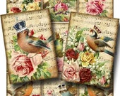 Majestic Songbirds Digital Collage Sheet Instant Download for Paper Crafts Card Decoupage Original Whimsical Altered Art by GalleryCat CS52