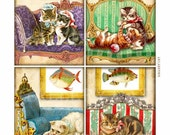 Victorian Cats on Couches  Digital Collage Sheet Instant Download Label Card Journal Original Whimsical Altered Art by GalleryCat CS78
