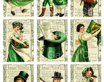 Vintage St Patrick's Day  Digital Collage Sheet  Instant Download Paper Crafts Original Whimsical Altered Art by Gallery Cat CS3