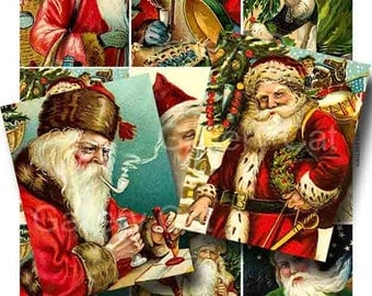 Victorian Father Christmas Digital Collage Sheet Instant Download for Paper Crafts Cards Original Whimsical Altered Art by GalleryCat CS12