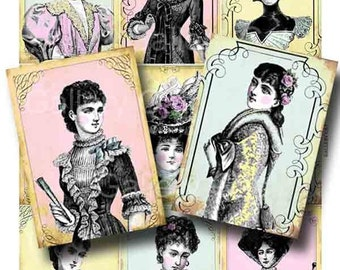 Victorian Fashion Ladies Digital Collage Sheet Instant Download for Paper Crafts Original Altered Art by GalleryCat CS17