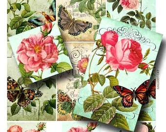 Vintage Rose Mix Digital Collage Sheet Instant Download Paper Crafts Gift Tags Original Whimsical Altered Art by GalleryCat CS25