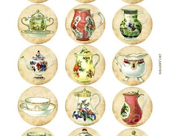 Antique Pottery Digital Collage Sheet Instant Download Paper Crafts 2 Inch Circles Original Whimsical Altered Art by GalleryCat CS37