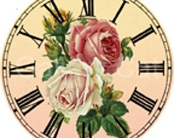 Vintage Rose Clock Digital Collage Sheet 2 Inch Circle Instant Download Paper Jewelry Original Whimsical Altered Art by GalleryCat CS63