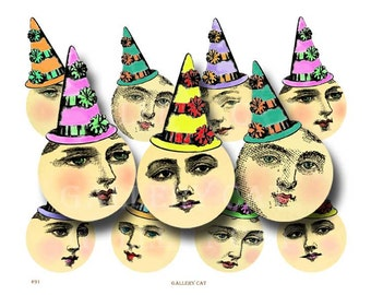 Lady Moon in Party Hat Digital Collage Sheet  Instant Download Paper Crafts Original Whimsical Altered Art by Gallery Cat CS91