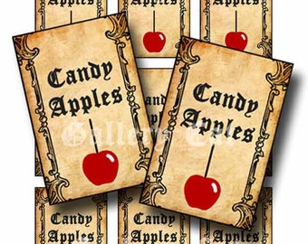 Vintage CANDY APPLES Tag Digital Collage Sheet Instant Download Paper Crafts Original Whimsical Altered Art by Gallery Cat CS102