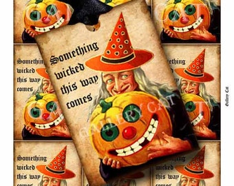 SOMETHING WICKED Digital Collage Sheet Instant Download Paper Crafts Card Original Whimsical Altered Art by GalleryCat CS117