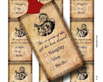 SANTA CLAUS Checklist Gift Tag Digital Collage Sheet Instant Download Paper Crafts Original Whimsical Altered Art by GalleryCat CS118