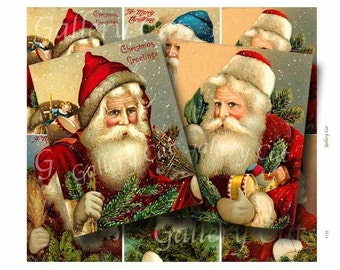 VICTORIAN SANTA Digital Collage Sheet Instant Download for Paper Crafts Tags Cards Original Whimsical Altered Art by GalleryCat CS135