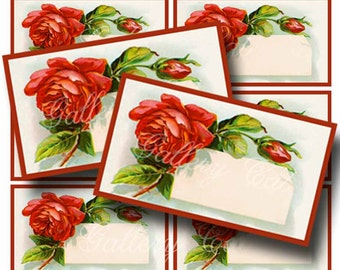 RED ROSE Tag Digital Collage Sheet Instant Download for Paper Crafts Original Whimsical Altered Art by GalleryCat CS141